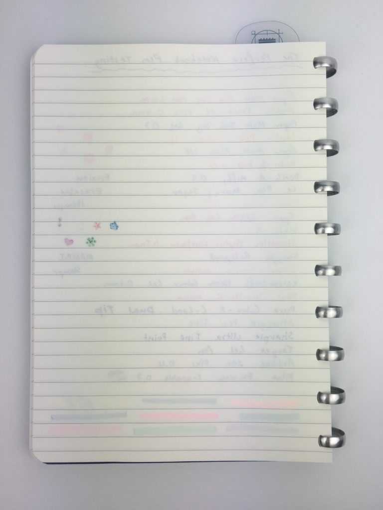 the perfect planner notebook review pen testing swatches ghosting bleed through ballpoint needle tip highlighters stamps pros and cons discbound