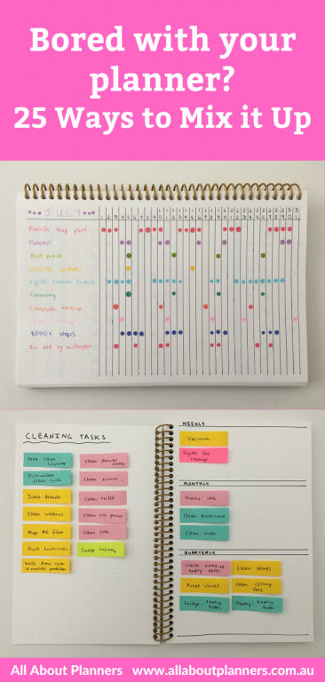 bored with your planner planning tips inspiration ideas hacks color coding sticky notes weekly spread ideas bullet journal bujo