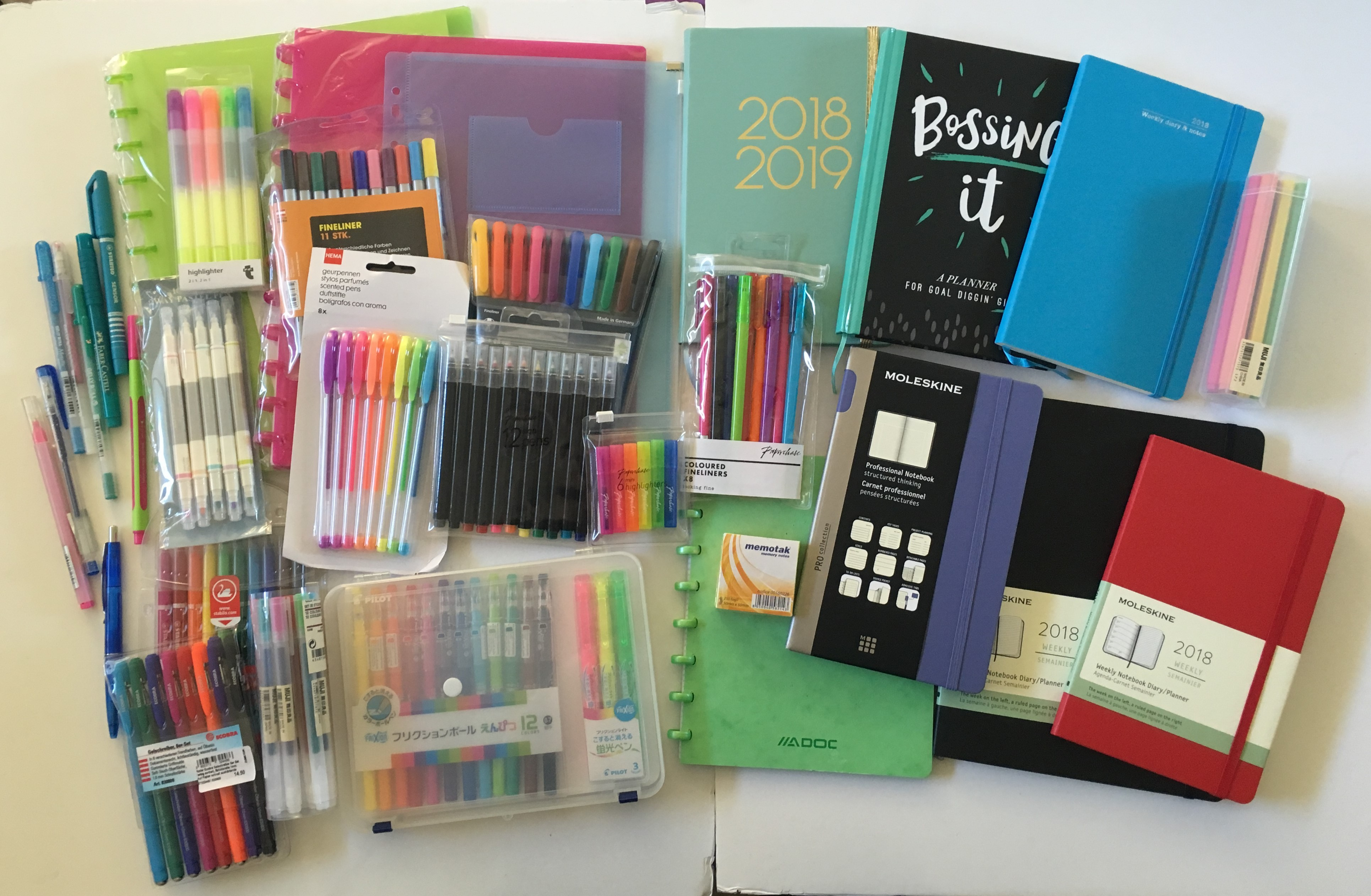 europe stationery haul paperchase planners pen stationery highlighter switzerland moleskin manor globus review recommendation