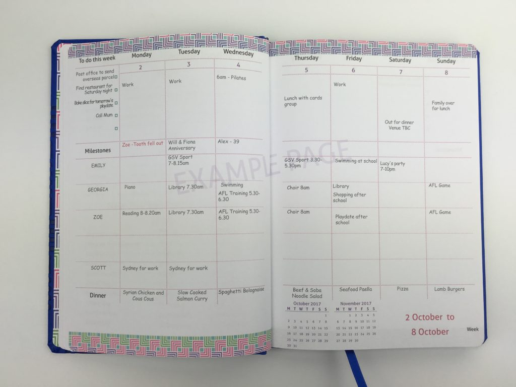 master plan family diary 2018 agenda organizer categorised monday week start australia bookbound diary review milestone press milligram bookbound-min