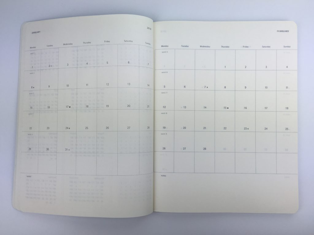 moleskin annual dates at a glance calendar minimalist simple gender neutral lightweight week start monday horizontal 2 page weekly spread day to a page monthly calendar ideas