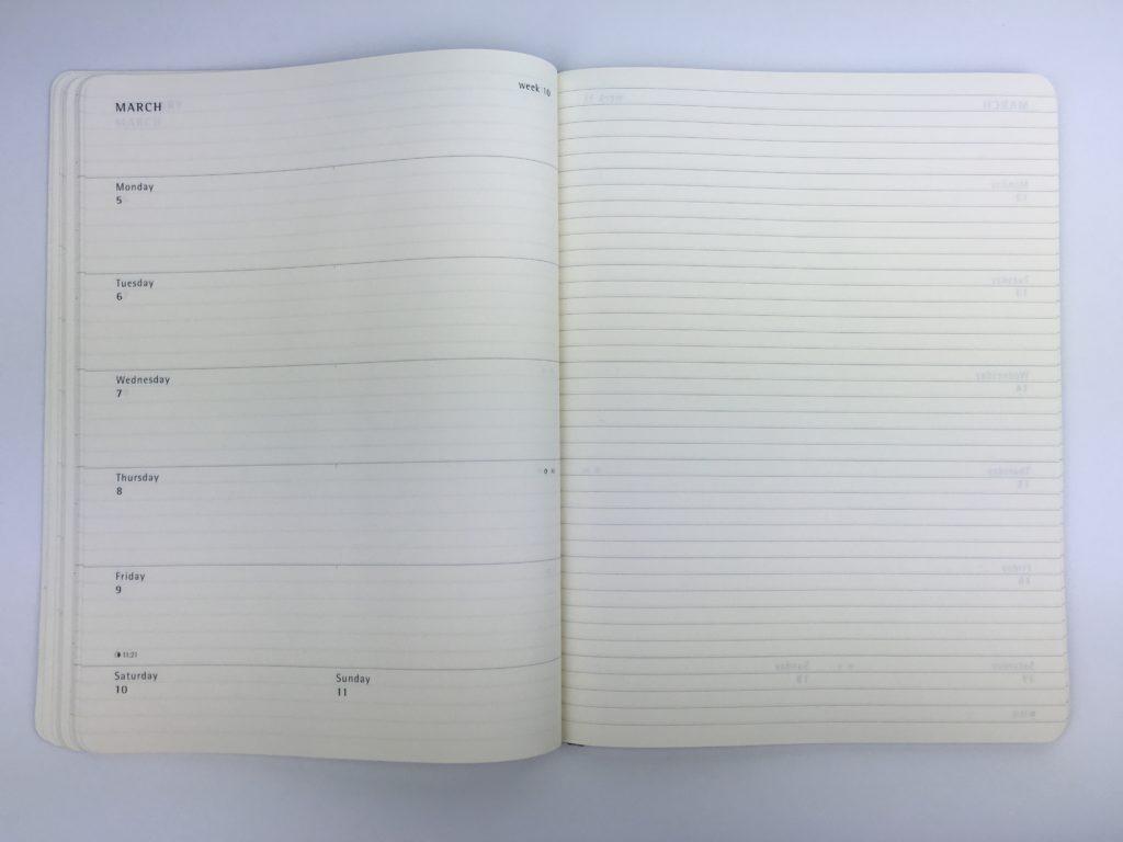 moleskin weekly planner review academic year horizontal simple minimalist book bound bullet journal week start monday a5 medium size notebook week on 2 pages list making