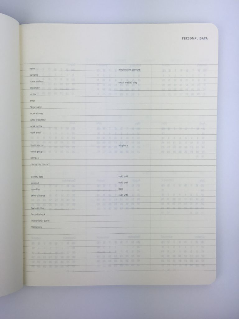 moleskin weekly planner review alternative to bullet journalling gender neutral personal info page