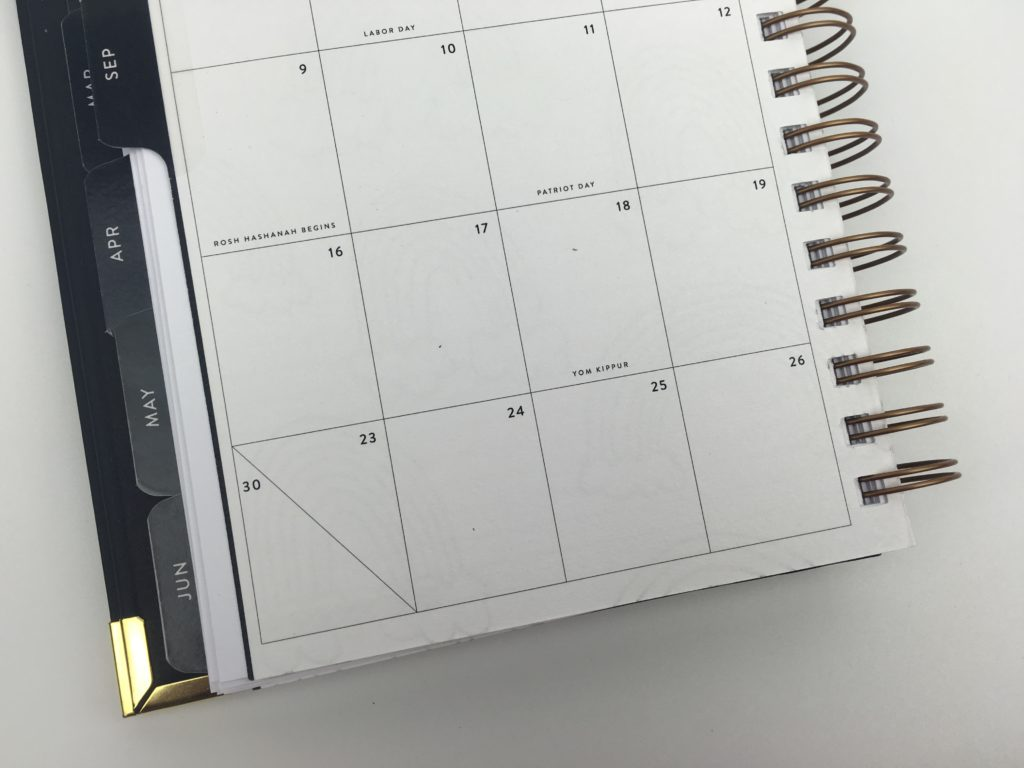 sugar and type monthly planner minimalist pros and cons wire bound small portable lightweight gold and black classy horizontal 2 page weekly spread 2018