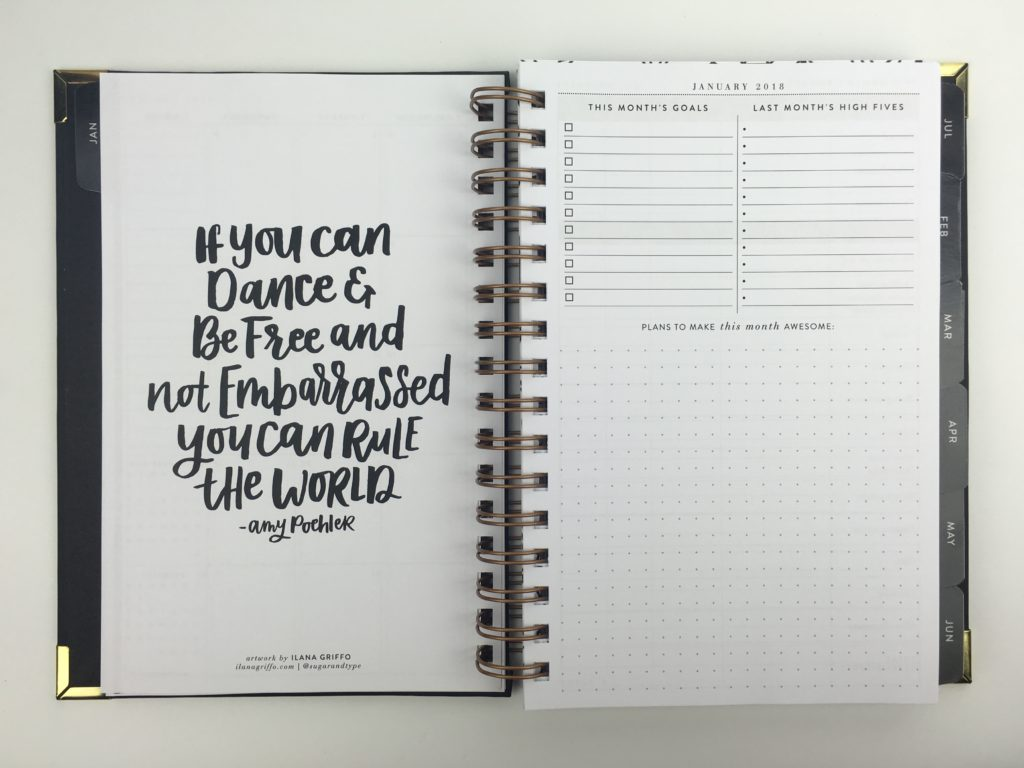 sugar and type planner monthly planning minimalist classy black and gold organization simple 2018 horizontal checklist review