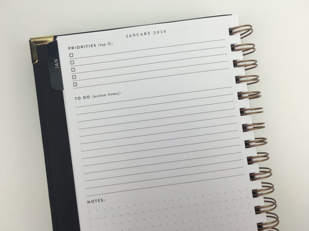sugar and type planner monthly planning minimalist classy black and gold organization simple 2018 horizontal checklist review priorities grid dot