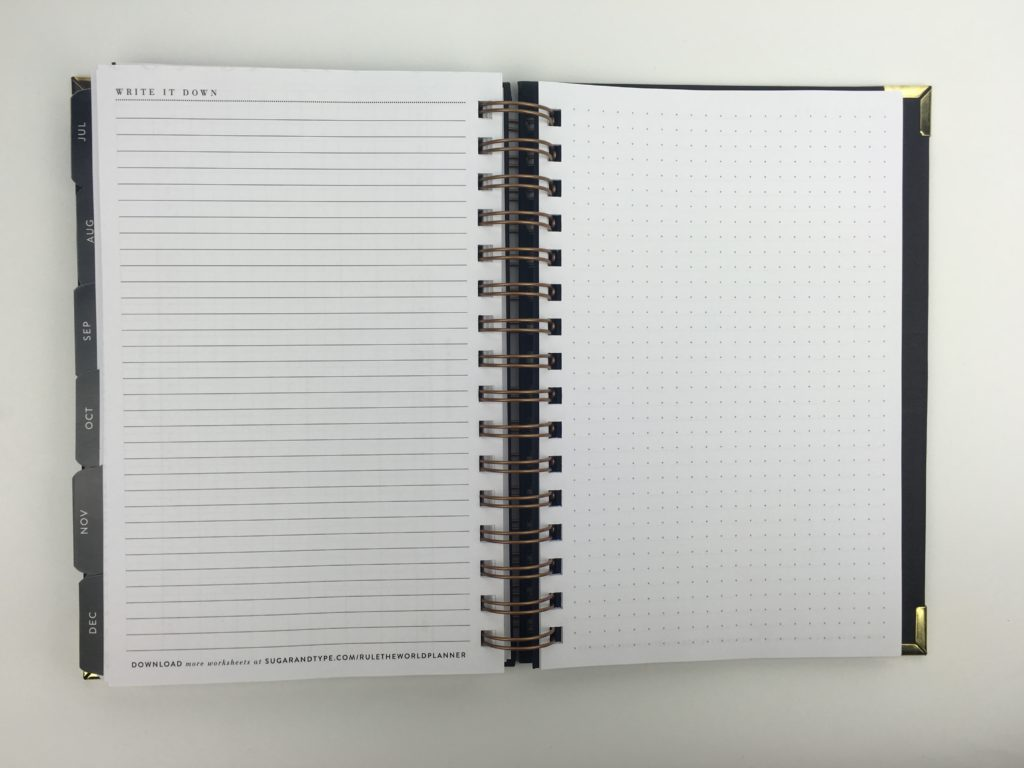 sugar and type planner review 2018 blank notes pages sketch minimalist gold and black detail