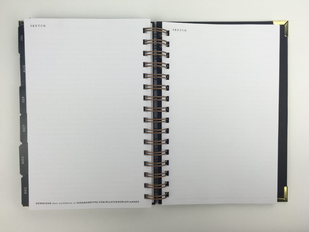 sugar and type planner review 2018 blank notes pages sketch minimalist gold and black detail minimalist classy work horizontal 2 page weekly