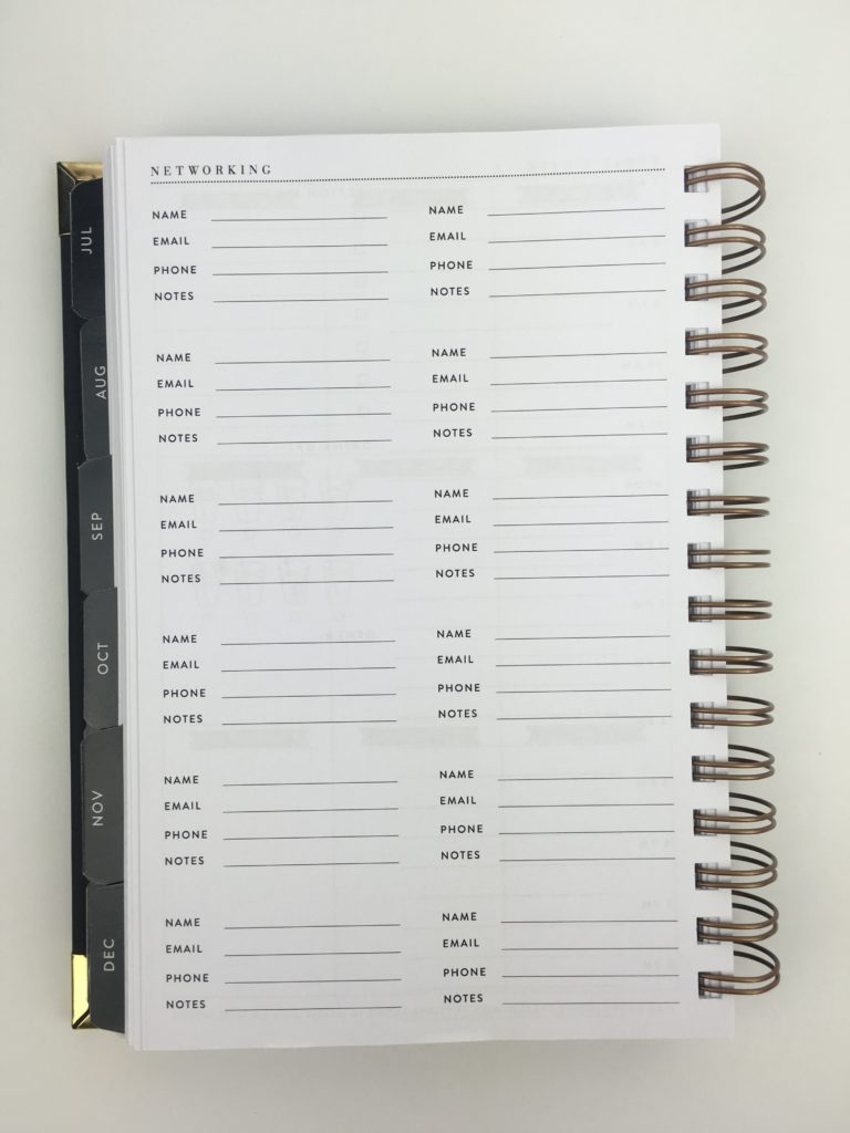 sugar and type planner review 2018 minimalist horizontal 2 page weekly spread contacts networking pages