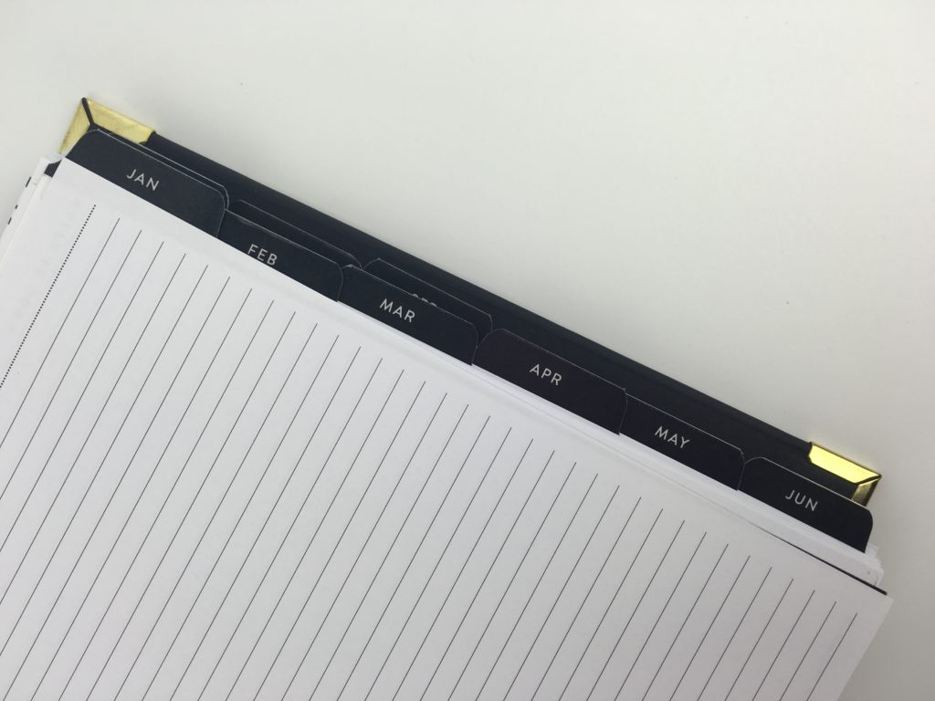 sugar and type planner review annual dates at a glance future log planning minimalist classy american planner cheap tabs large gold detail and black