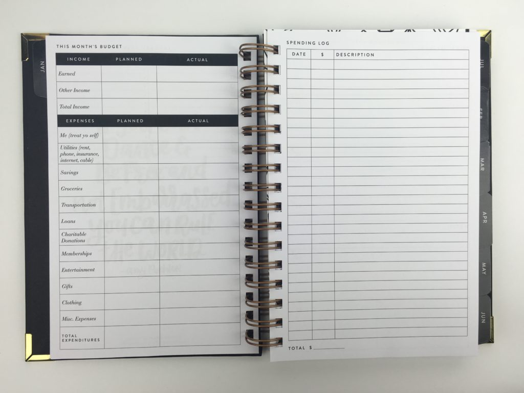 sugar and type weekly planner with monthly budget and spending tracker minimalist simple a5 black and gold