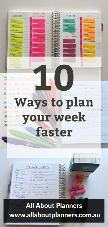 10 ways to plan your week faster tips ideas weekly spread inspiration layout favorite planning supplies resources color coding all about planners