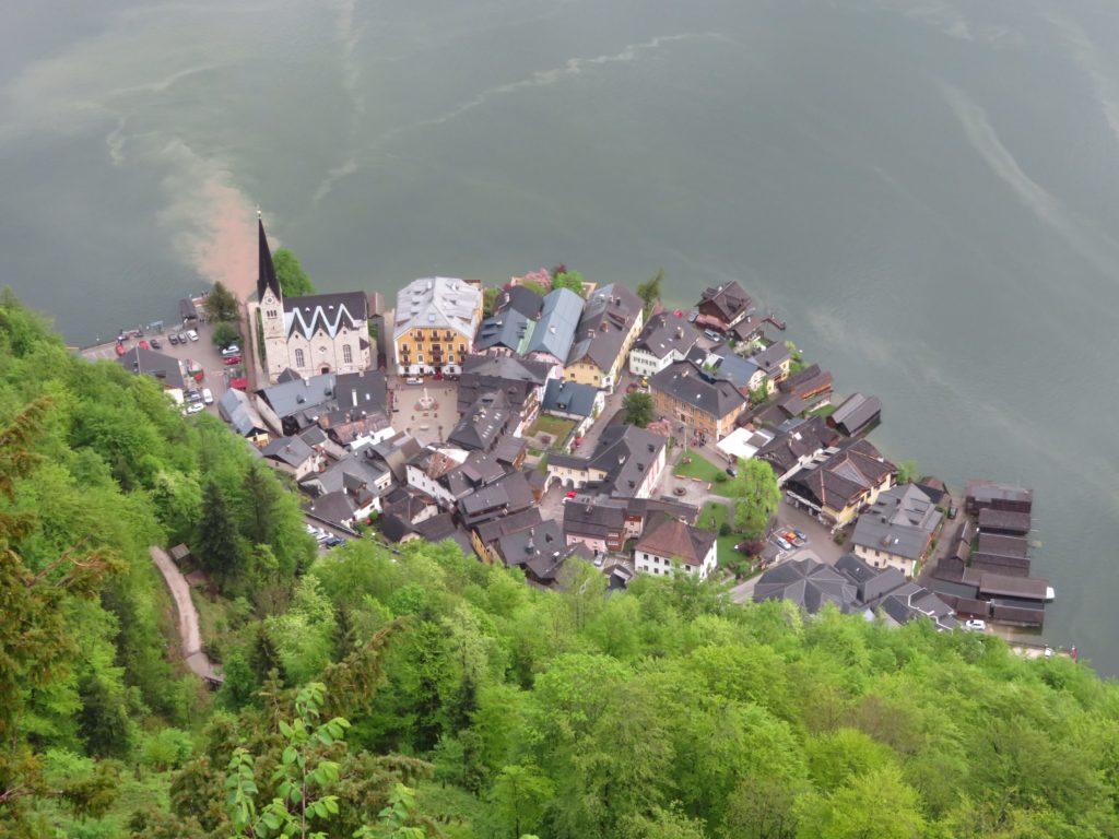 hallstatt austria birds eye view skywalk funicular cute lakeside town village