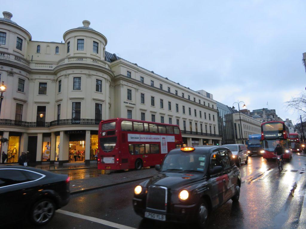 London the strand stationery shopping charring cross trafalgar square iconic red bus tourist itinerary