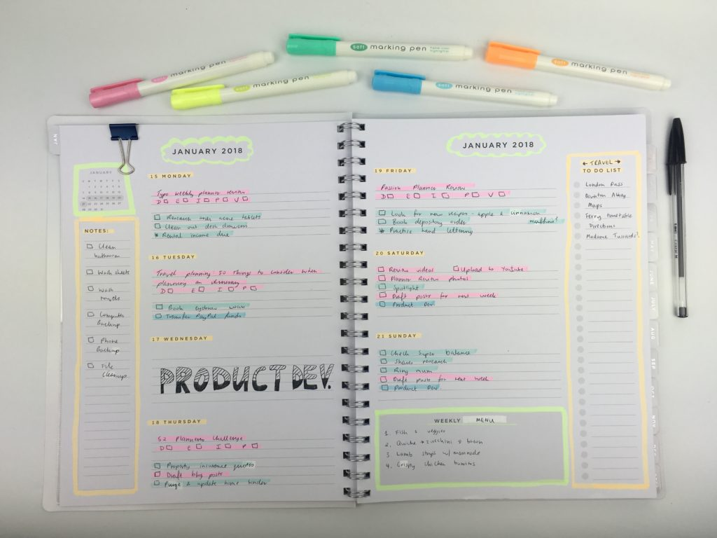 american crafts weekly planner horizontal monday start simple minimalist highlighters plan with me ideas decoration daiso marker color coding