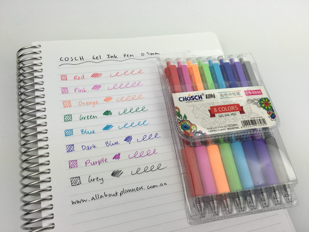 cosch gel ink pen fine tip no ghosting smudge bleed through color coding rainbow amazon pens review favorite planning supplies