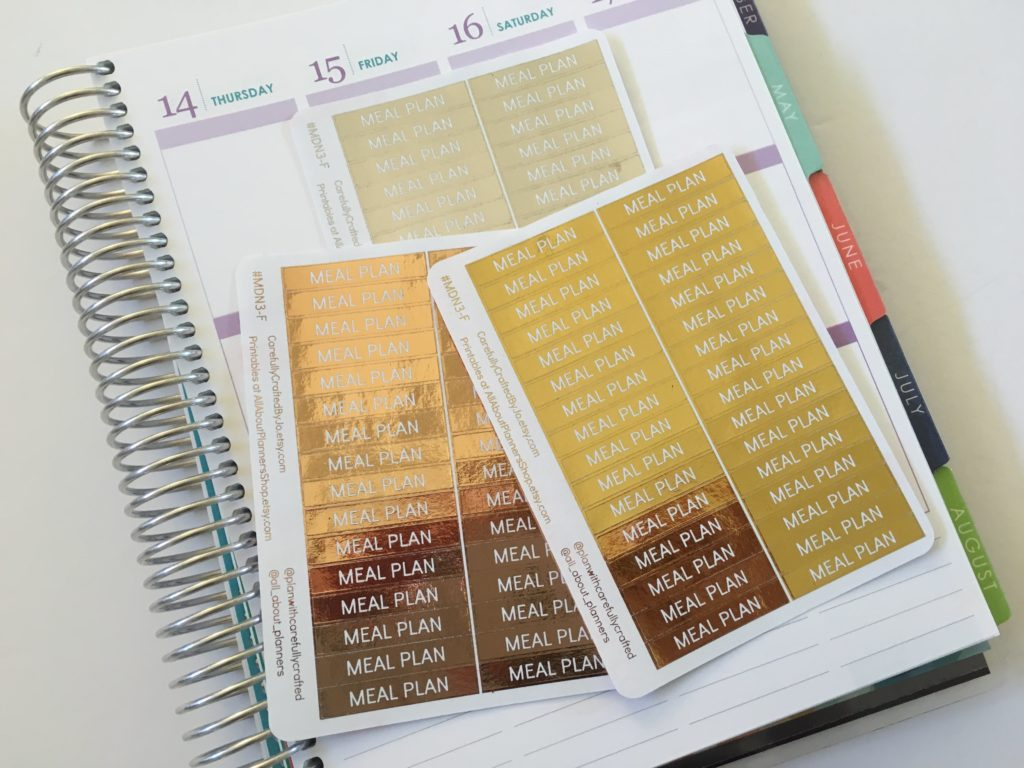 gold foil planner stickers meal plan header title erin condren size functional reminder rose gold silver any planner-min