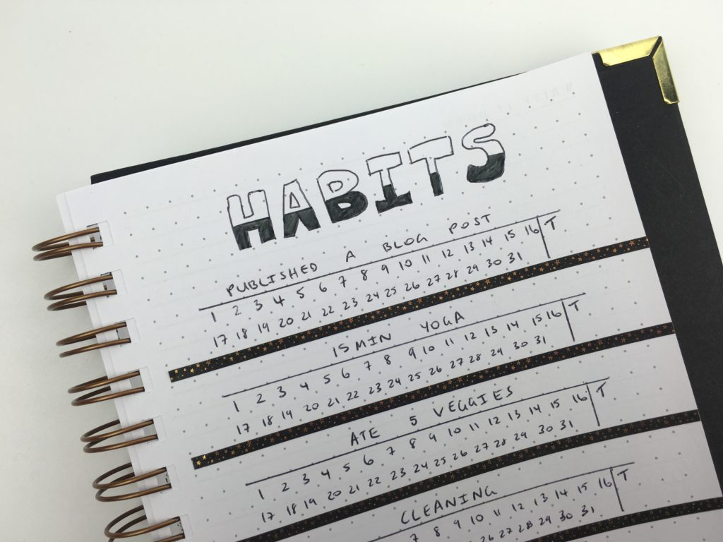 habit tracker ideas monthly simple minimalist mambi washi tape lettering decorating ideas inspiration tips bullet journal bujo insert refill planning