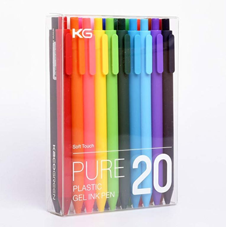 kaco green plastic pure pen review amazon rainbow gel pen retractable color coding