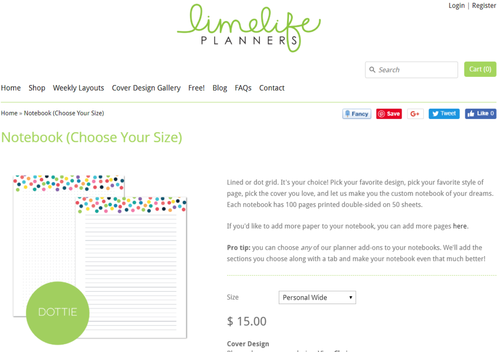 limelife planners dot grid notebook