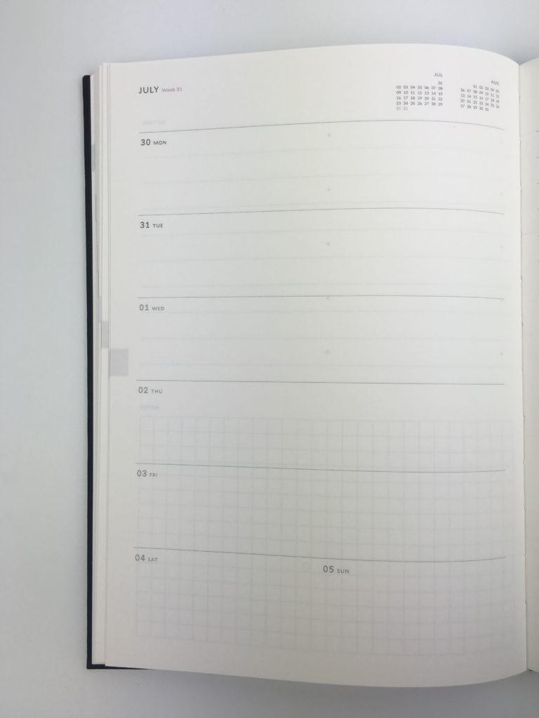 milligram weekly planner review tabs color coded checklist monday start horizontal australia hardbound minimalist