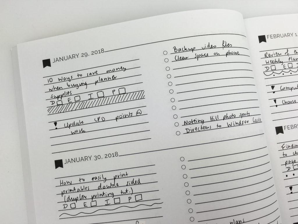 minimalist planner decorating ideas dividers black pen only bullet journal bujo checklist pretty simple planner
