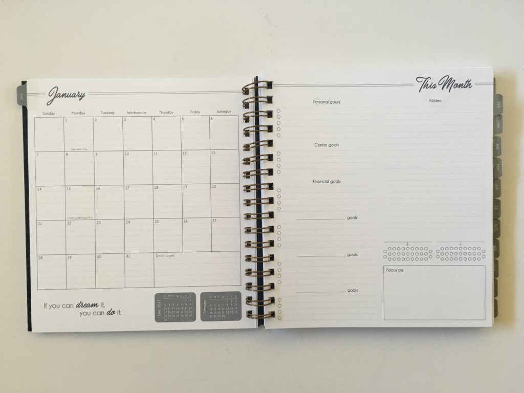 monthly calendar checklist this month goal setting habit tracker lined functional wire binding