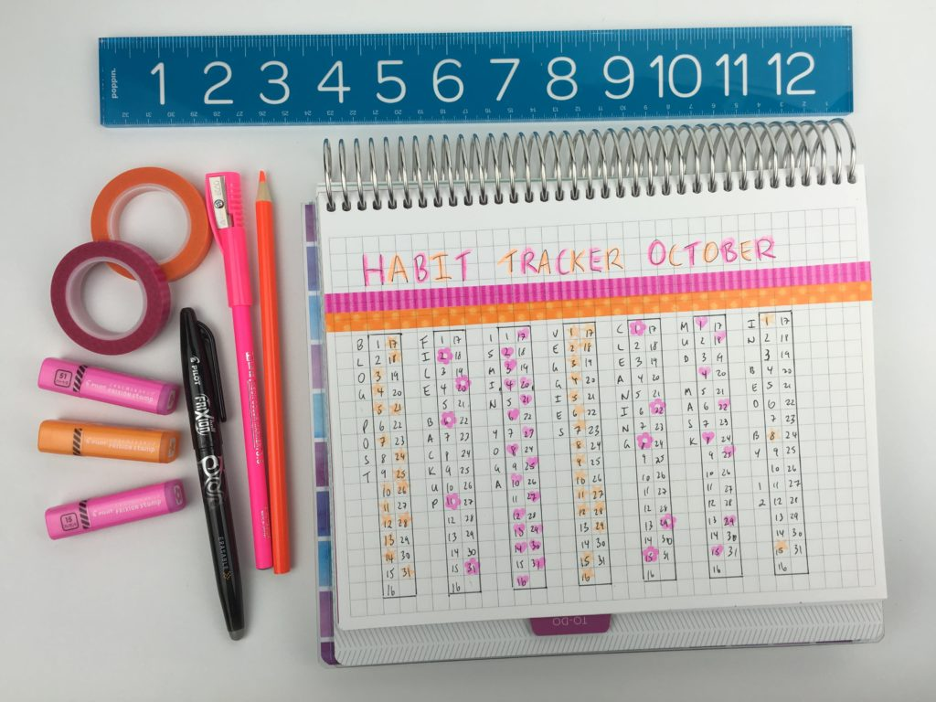 monthly habit tracker ideas bullet journal decorative diy cute washi tape colorful color coding creative inspiration ideas organization stamps-min