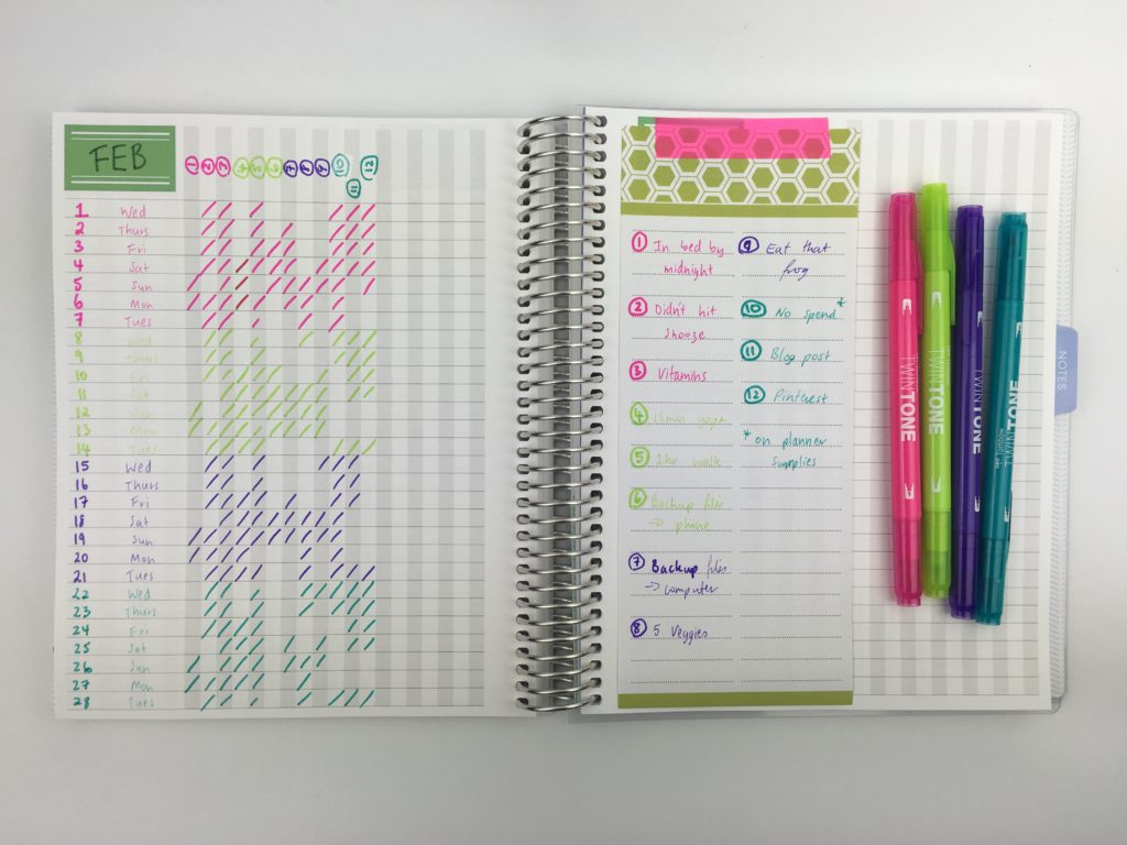 monthly habit tracker ideas layout inspiration tips things to track routine weekly color coded plum paper notebook organization productivity