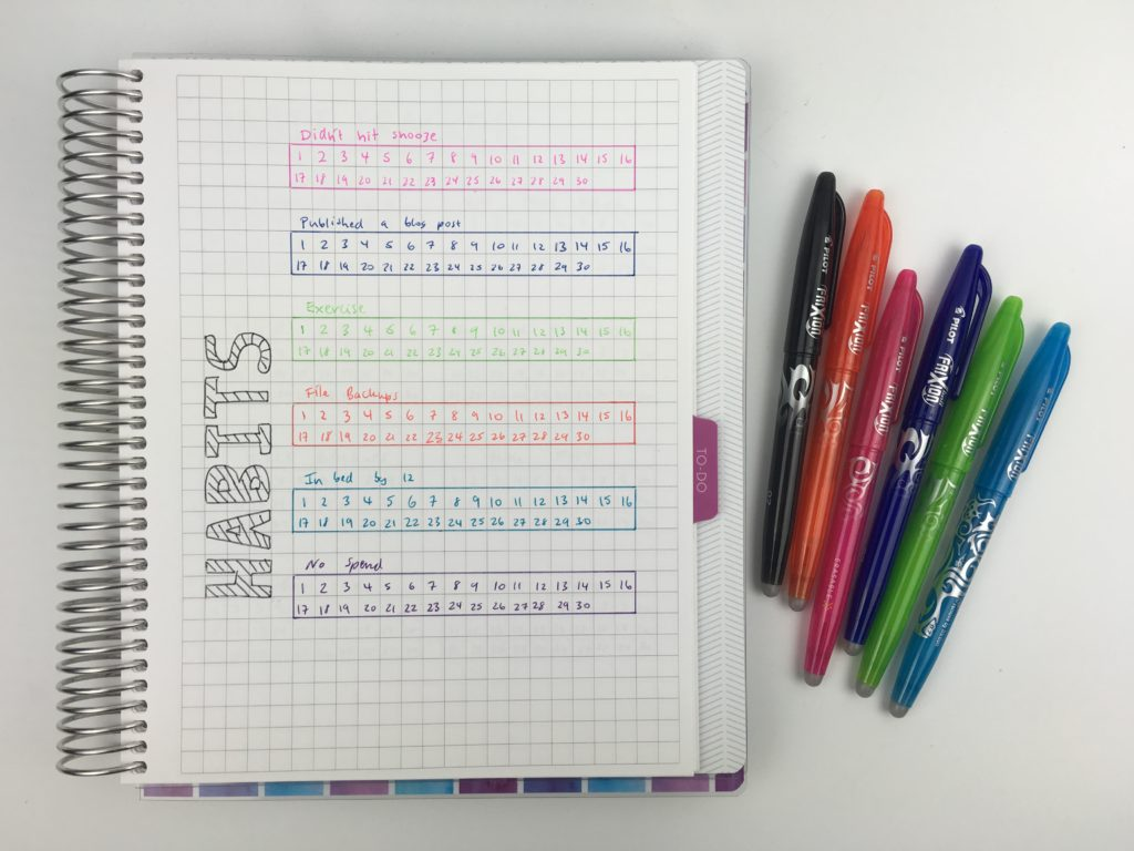 monthly habit tracker ideas layout inspiration tips things to track routine weekly color coded plum paper notebook organization productivity frixion pen minimalist