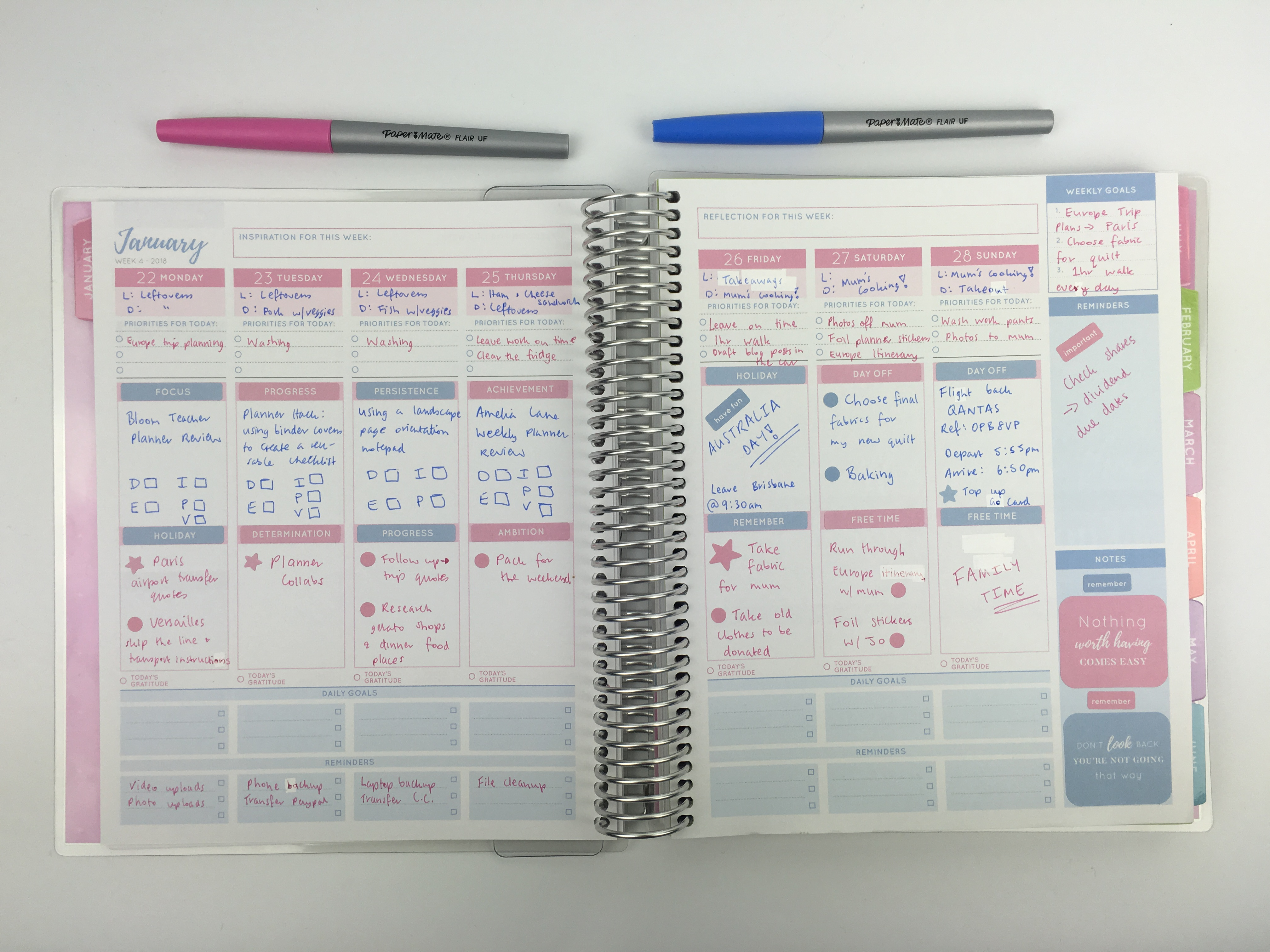 otto goals weekly planner review color coded planning spread blue pink sticker decorating ideas cheaper alternative to erin condren vertical life planner australia