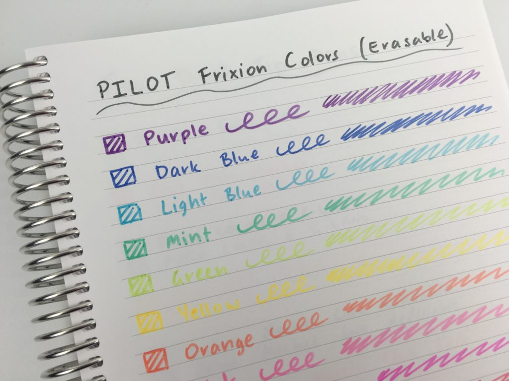 pilot frixion erasable markers rainbow thick headings rub out bullet journal supplies planning tips ideas inspiration test swatch bleed through ghosting yellow