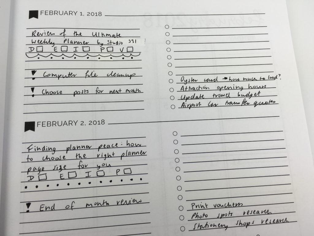 pretty simple weekly planner minimalist planner spread horizontal layout blog planning checklist dividers