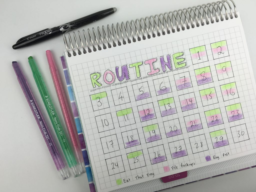 routine habit tracker template for bullet journal color coding ideas spread inspiration diy simple quick easy minimalist-min