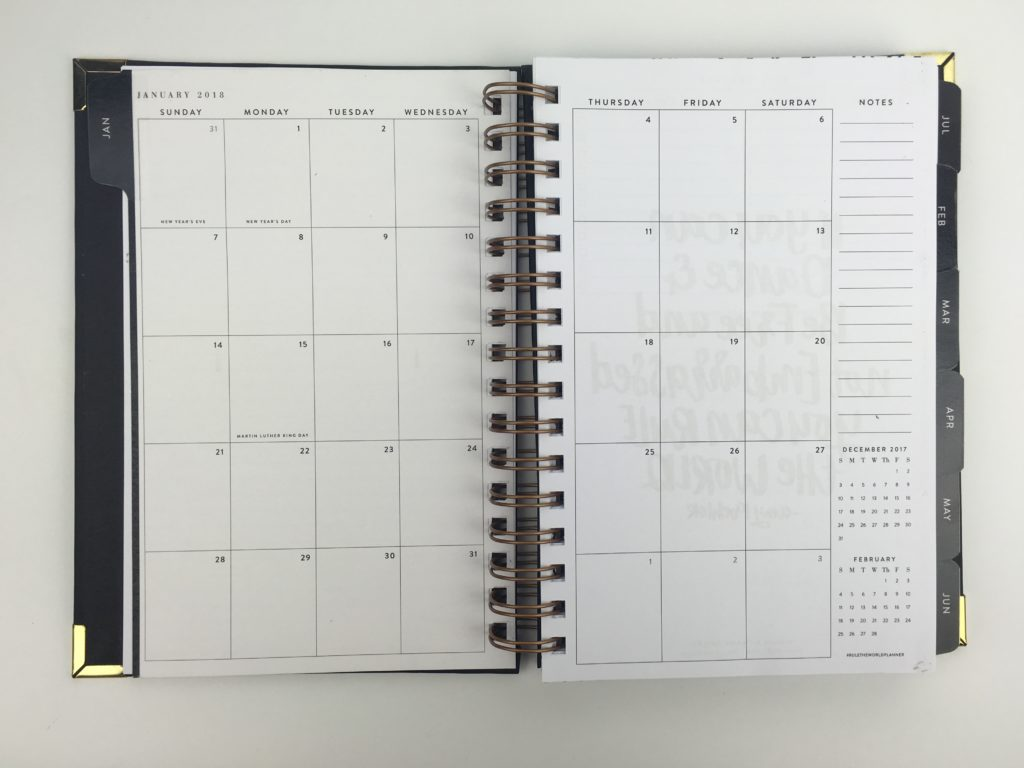 sugar and type monthly planner minimalist pros and cons wire bound small portable lightweight gold and black classy horizontal 2 page weekly spread 2018 sidebar