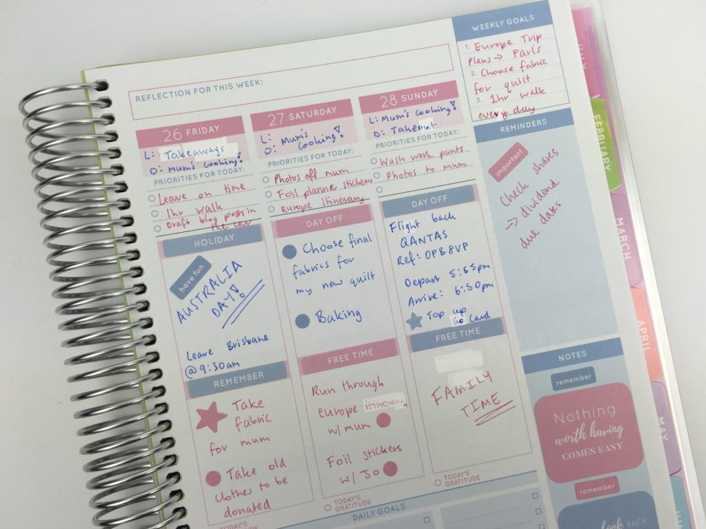 vertical planner decorating ideas pink and blue theme simple minimalist cute colorful inspiration otto goals weekly planner australia alternative to recollections-min