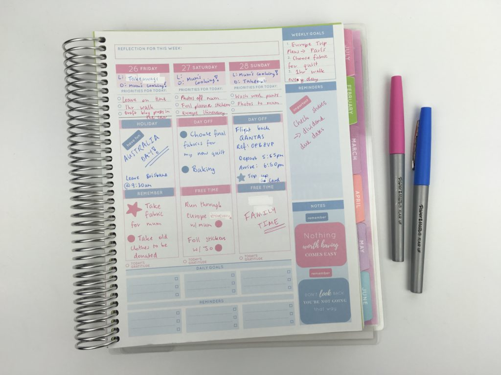 vertical planner decorating ideas pink and blue theme simple minimalist cute colorful inspiration otto goals weekly planner australia alternative to recollections monday start