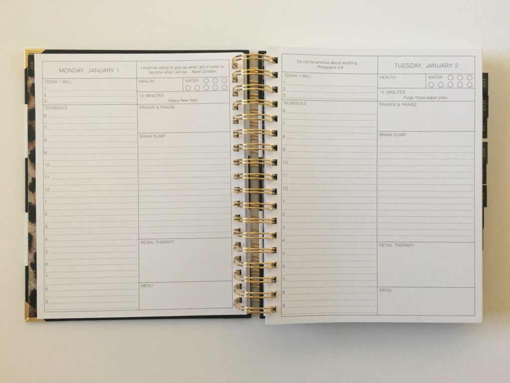 Corie clark planner review purposeful daily 2018 say to a page schedule health checklist lined writing space