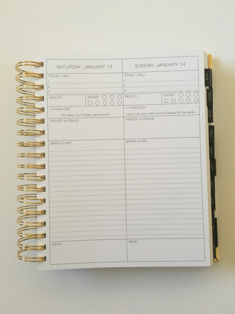 Corie clark purposeful planner daily hydrate exercise brain dump weekend planner simple minimalist top 3 goal setting