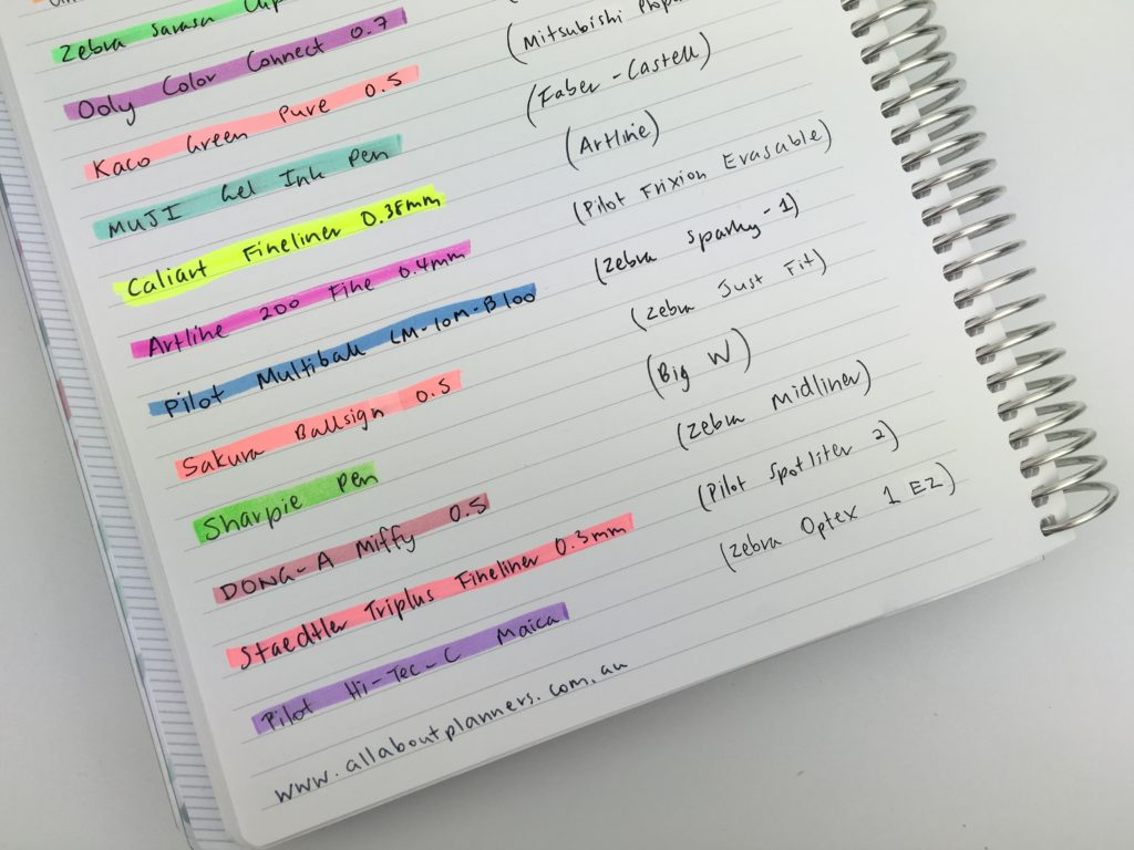 favorite highlighters for planning no bleed through ghosting or smudging zebra faber castle monami wax midliner staples stabilo boss honest review