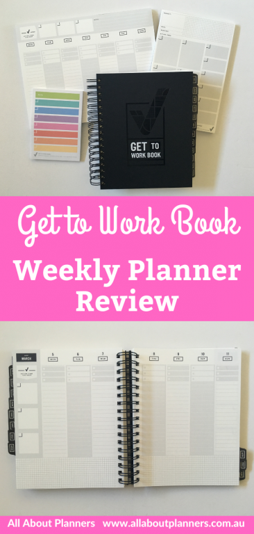 get to work book weekly planner review vertical hourly minimalist neutral type a personality goals top 3 wire bound monday week start