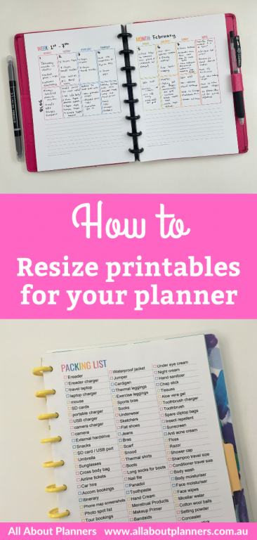 how to resize printables for your planner tips instructions tutorial how to make a diy planner
