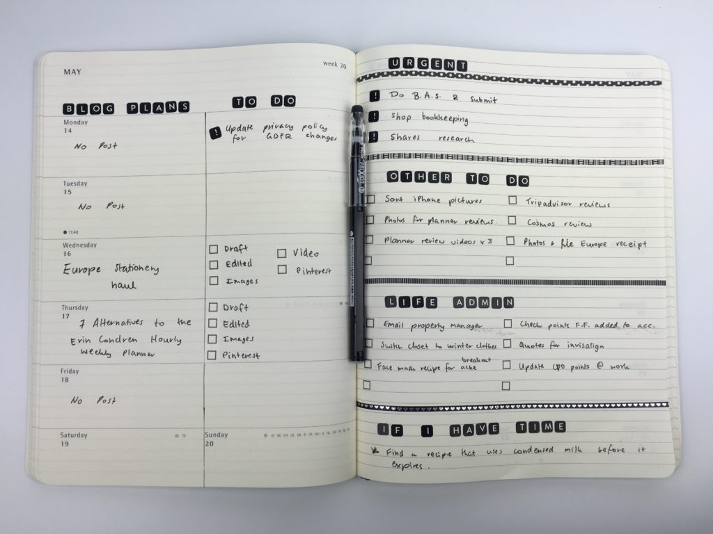 moleskine weekly spread minimalist black and white theme layout ideas alternative to bullet journal washi tape divider alphabet stickers checklist washi tape frixion pens
