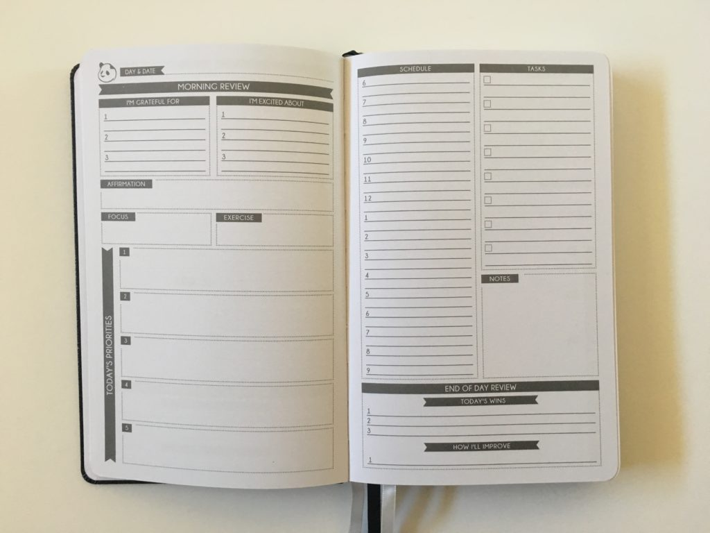 panda planner daily review 2 pages per week pros and cons simple minimalist gender neutral undated cheaper alternative to passion planner comparison law of attraction