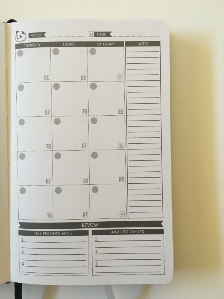 panda planner monthly calendar goal setting reflection minimalist top 3 monday start lined writing space pros and cons undated