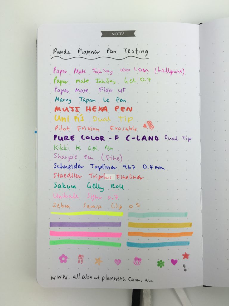panda planner pen testing review pros and cons bleed through papermate gel pens fine tip ballpoint marker highlighter quality texture