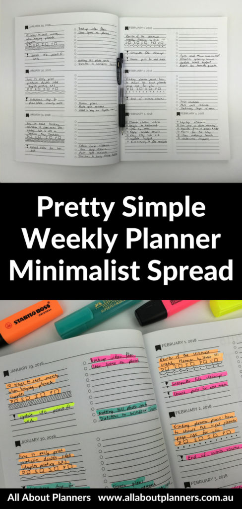 pretty simple weekly planner color coded minimalist spread cheaper alternative to emily ley highlighters no smear black pen diy