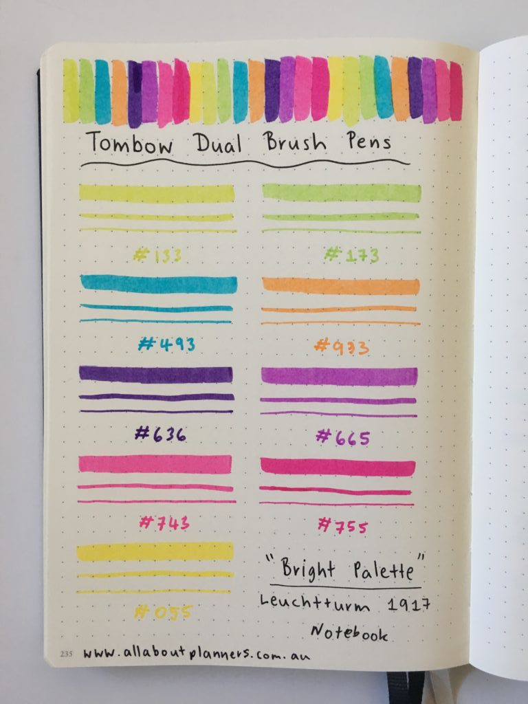tombow brush pen testing swatches in leuchtturm 1917 notebook planner supplies tips inspiration ideas