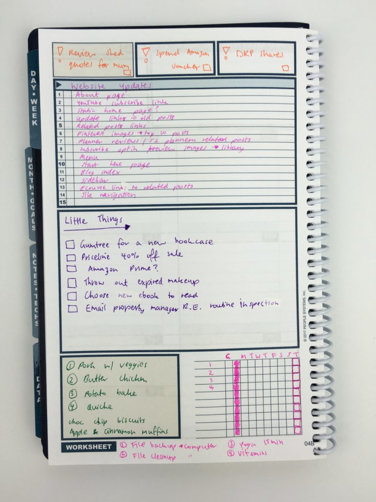 uncalendar undated weekly planner review project blog web redevelopment color coding simple alternative to traditional planner tasks to do checklist color coding