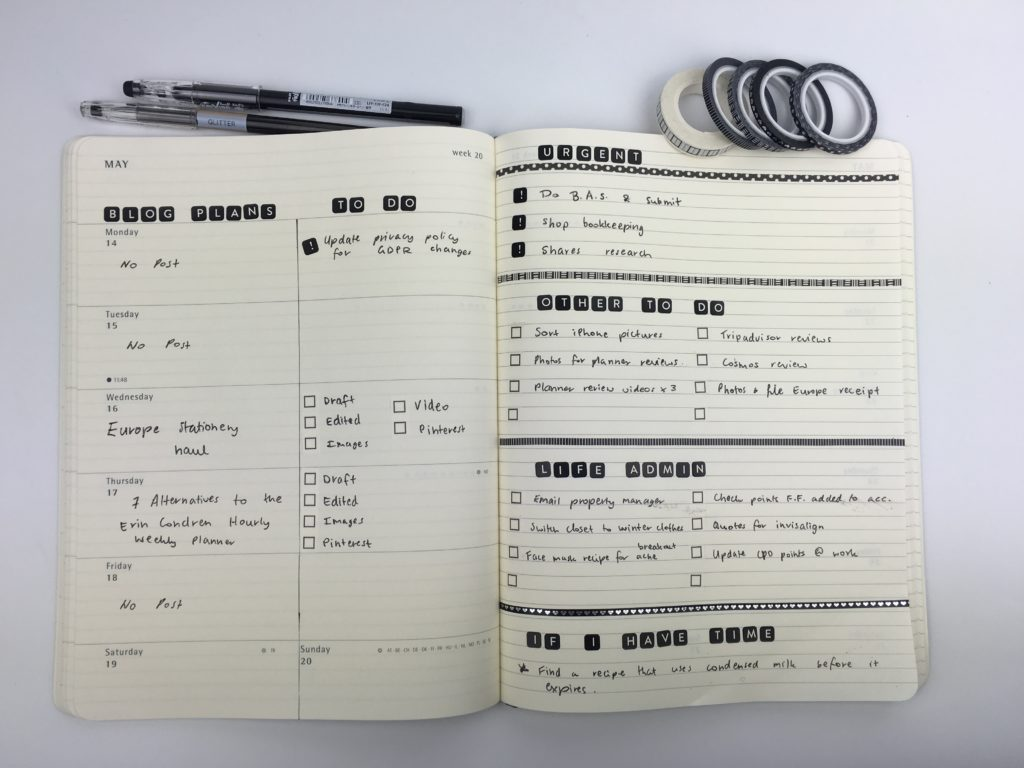 weekly spread ideas inspiration diy black and white simple functional moleskine weekly planner review thin washi tape checklist blog planning horizontal lined notes layout